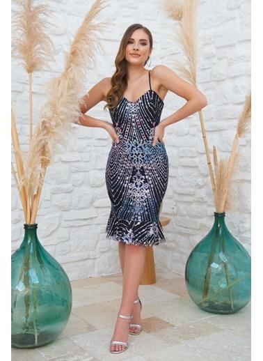 Carmen Indigo Simli Arkası Çapraz Askılı Dekolteli Kısa Abiye Elbise İndigo